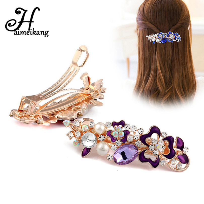 Haimeikang 2017 New Crystal Flower Hair Clip Hairpins for Women Fashion Rhinestone Pearl Clips Headwear Girls Hair Accessories women headwear gift rhinestone hair claw butterfly flower hair clip 5 5cm long middle size bow hair accessories for girls