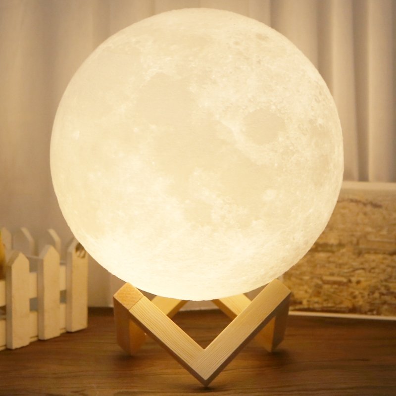 2 Color Change Touch Switch Rechargeable 3D Lights Print Moon Lamp Bedroom Bookcase USB Led Night Light Home Decor Creative