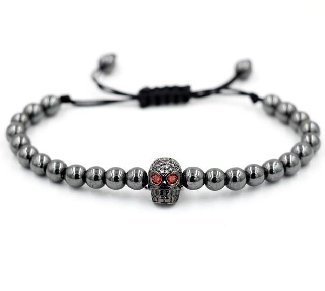 79e9560da52c BPPCCR Skull Head Woven Bracelet Charm Men s Bracelets Micro Pave CZ Beads  Trendy Anil Arjandas Braiding