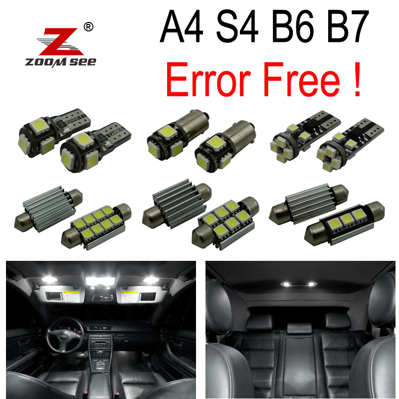 18pc X 100% Canbus LED lamp interior dome map glove door leg foot light Kit Package for Audi A4 S4 B6 B7 (2002-2008)