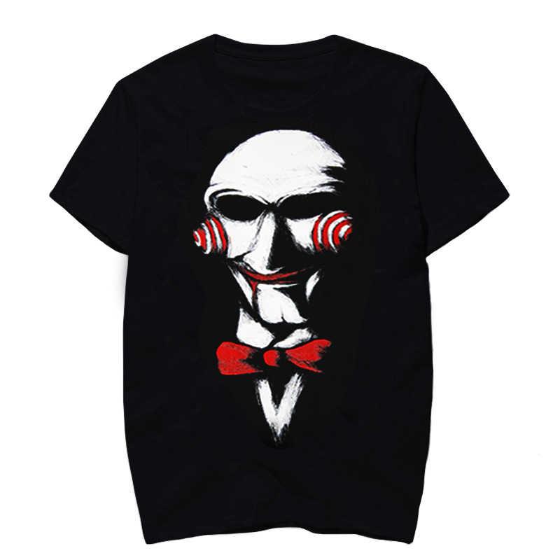 Модная уличная Летняя мужская футболка черного цвета со смайликом Джокер принт Панк футболка хип-хоп футболка с коротким рукавом camisetas hombre