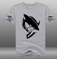2018 Gentleman Casual Anime One Piece Monkey D Luffy T camice Bianco 100% Cotone O Manica Corta Tee Shirts abbigliamento