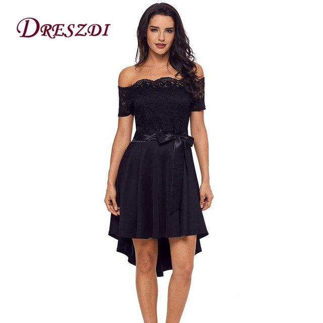 524c588712565 Dreszdi Sexy Off Shoulder Women A Line Bow Lace Dress Vintage Elegant High  Low Skater Dress Plus Size Short Party Dress Vestidos