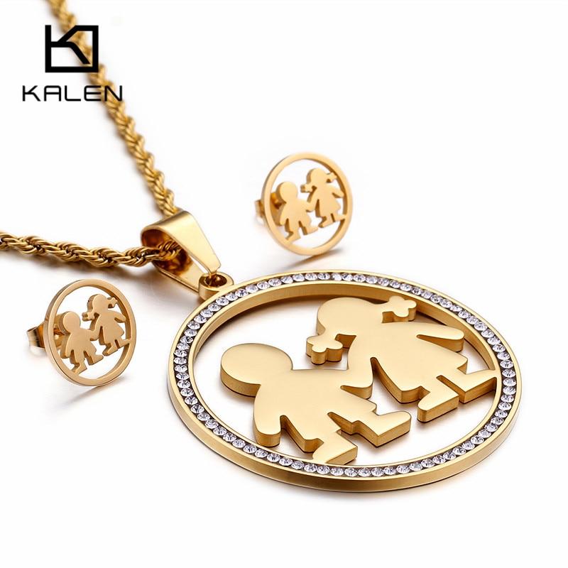 KALEN Cute Stainless Steel Chile Gold Jewelry Sets For Women Rhinestone Cartoon Boy & Girl Pendant Necklace & Earrings Sets Gift