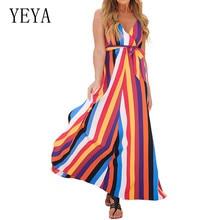YEYA Fashion Striped Multiple Patchwork Dress Sexy Deep V-neck Sleeveless Loose Maxi Women Summer Casual Robe De Plage