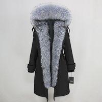 Winter Jacket Women Waterproof Parka 2019 Real Fur Coat Natural Raccoon Fur Collar Real Rex Rabbit Fur Liner Detachable brand