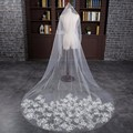 Real Photo White Long Wedding Veils Appliques Flowers Bridal Veil With Comb Voile Mariage 2017 Wedding Accessories In Stock Hot