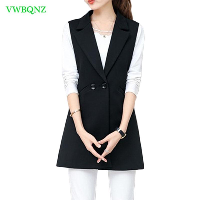 Image 3 - Spring Autumn Wild Female Vest Women Korean Long Slim Thin Sleeveless Suit Vests Women's Shoulder Plus size Jacket Coat 3XL A658-in Tank Tops from Women's Clothing