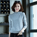 2016 nova Primavera Moda Feminina camisola alta Sólido elástico camisola de Gola Alta mulheres sexy slim apertado Assentamento Pullovers De Malha
