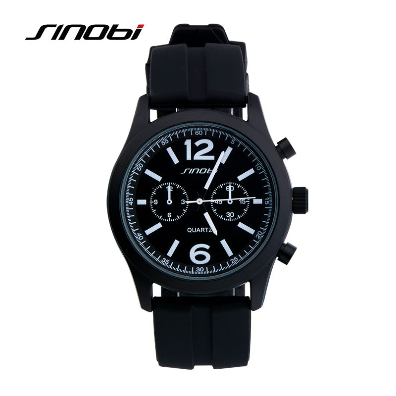 SINOBI Top Brand Luxury Watch Men Watch Silicone Strap Waterproof Sport Watches Hour Quartz Clock relogio masculino reloj hombre sinobi men s top luxury brand sport watches men led digital waterproof stainess steel quartz watch man clock relogio masculino