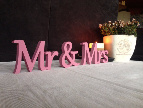 free shipping cursive pink mr mrs elegant freestanding wooden letters table centre pieces