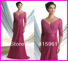 2013 Fuschia V Neck Chiffon Long Sleeves Lace Plus Size Mother of the Bride Gowns M1220