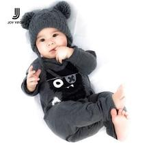 Новый 2016 мода детская одежда мальчика с длинным рукавом baby rompers новорожденных хлопок девочка одежда комбинезон детская одежда кошка