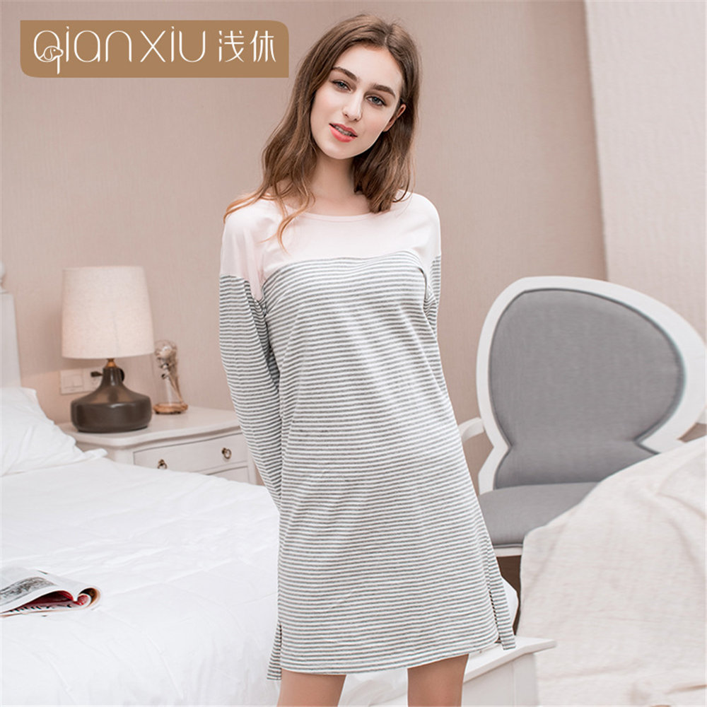 Qianxiu Women's Sexy Cute Nighty Lingeries Sleepwear Cotton   Nightgown   round collar long sleeve stripe nighty female   Sleepshirts