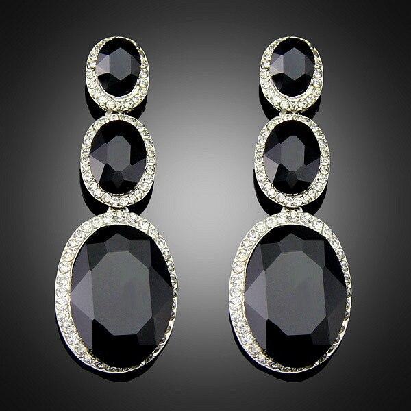 7a5af48b271d Grande grande Crystal largo Vintage negro pendientes moda pendientes  joyería de platino plateado plata en Pendientes de la gota de Joyería y  accesorios en ...