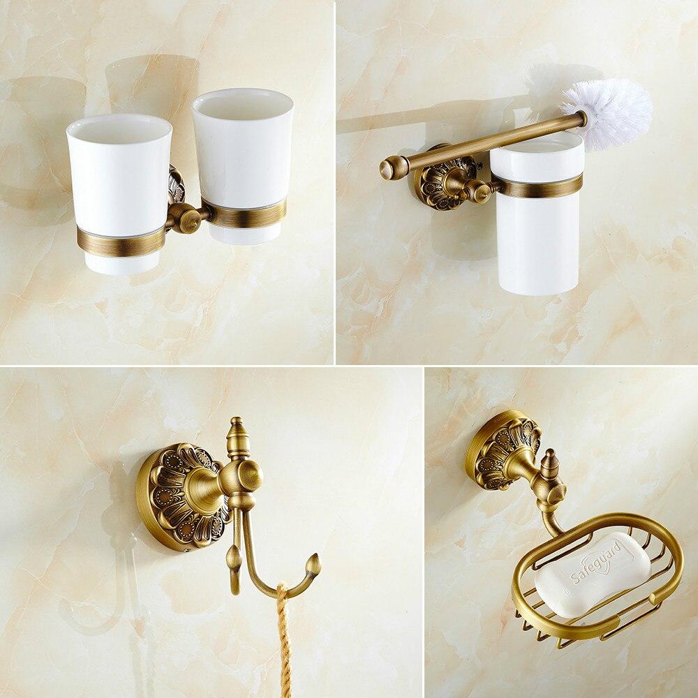 Brass bathroom accessories sets - Antique European Style Carved Daisy Pendant Set Bathroom Towel Rack Toilet Brush Soap Dish