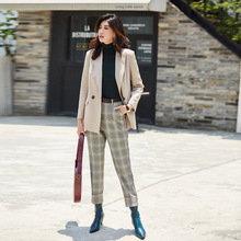 Red Plaid Blazer Tweed Blazers Womens Jackets and Coats Feminino High Quality Women Fashion 2019 Suit Jacket for Office