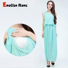 Эмоции мамы шифон кормящих одежды лето Грудное вскармливание Платья для беременных Одежда для беременных Для женщин