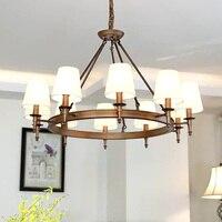 2019 Modern Pendant Lamps LED Bronze color Chandelier Lights Hanging Light Cloth lamp shade Fixture for Parlor Living Room