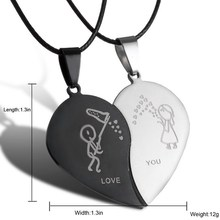 2018 Couples Jewelry Broken Heart Necklaces Black Couple Necklace Stainless Steel Engrave Love You Pendants Necklace