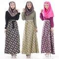 Женщина Мода Исламская Мусульманский Длинное Платье Новый С Длинными Рукавами Цветок Печатных Одежда Малайзия Стиль Абая 3 Стилей, Доступных