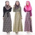 Mujer de Moda Islámica Musulmán Vestido Largo Nuevo Estilo Abaya Mangas Largas Flor Impresa Ropa Malasia 3 Estilos Disponibles
