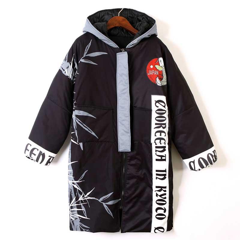 Parka À Black Hop Pardessus Style Manteau Dessin De Épais Femmes Veste Hiver Ouatée Impression Animé Street Coton Femelle Y626 Capuchon Hip Chaud Harajuku qxnwnSvB7