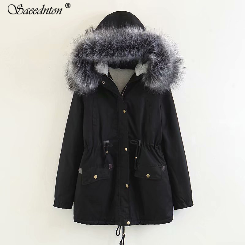 Jacket Women 39 s Winter Warm Down Cotton Coat 2019 Female Casual Raccoon Fur Hooded Collar Thicken Inside Lamb Wool Padded Parkas in Parkas from Women 39 s Clothing