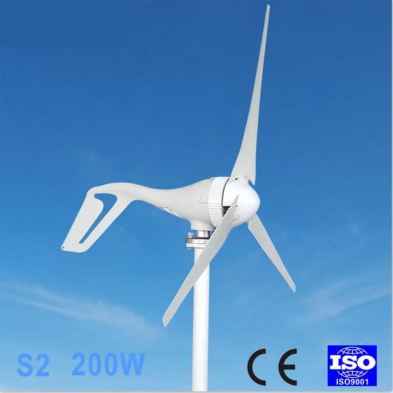 200W Wind Turbine Generator 12V AC 2.0m/s Low Wind Speed Start,3 blade 580mm max 900w 2 5m s start up wind speed 2 2m wheel diameter 3 blades 800w 48v wind turbine generator