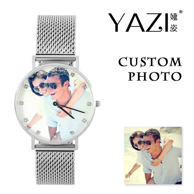 YAZI Personalized Custom Photo Watch Zircon Scale Wrist Watch for Men And Women