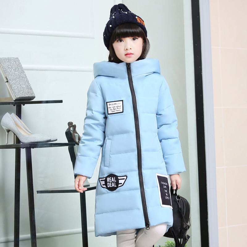 Fashion Girls Clothes Down Padded Jacket Winter Outerwear Warm Coats Hooded Thickened Parkas 2017 New Kids Clothing Long Section children winter coats jacket baby boys warm outerwear thickening outdoors kids snow proof coat parkas cotton padded clothes