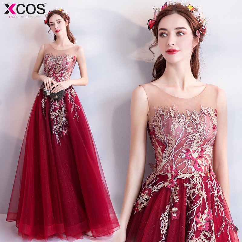 Elegant See Through Red   Prom     Dresses   2018 A-Line Floor-length Appliques Long Formal   Dress   Evening Gown Robe De Soiree
