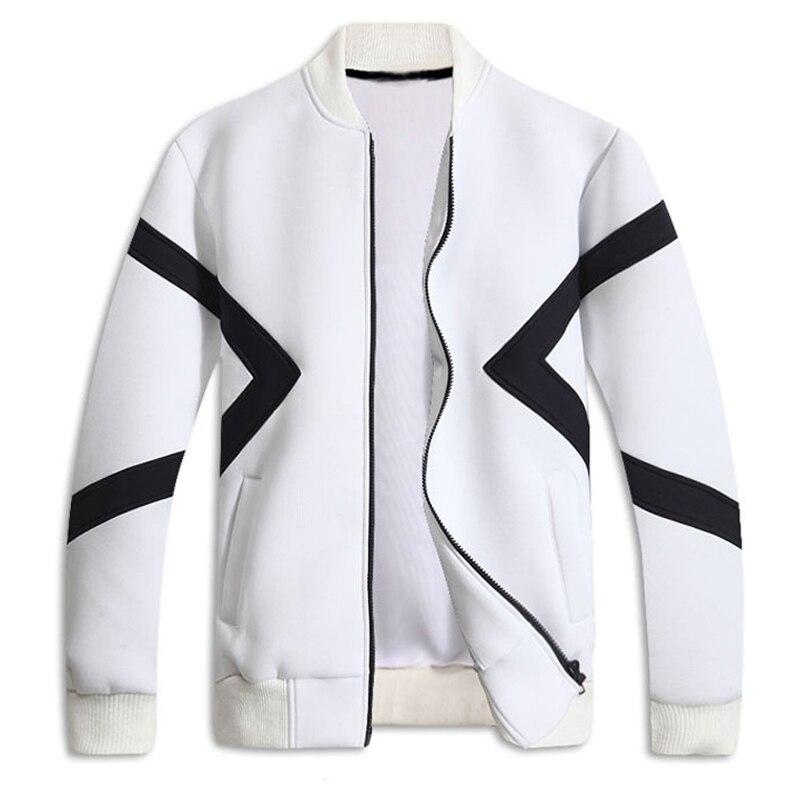 New Trend White Zipper Jacket 2017 Men Casual Fashion Mens Slim Fit Patchwork Sweatshirt Baseball Jackets Bombers Blouson Homme como rasgar uma camiseta feminina