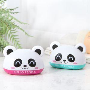 Милая панда Пластиковая Коробка для мыла с крышкой сливное мыльница Аксессуары для ванной комнаты для детского дома аксессуары для мыла