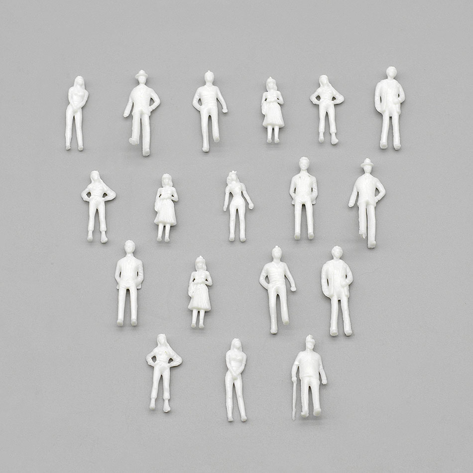300pcs 1:<font><b>75</b></font> scale model people miniature white figures Architectural model human scale ABS plastic people image