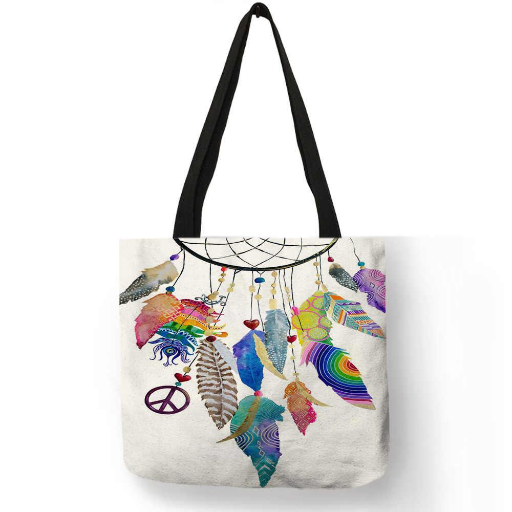 Bohemian Estilo Dream Catcher Meninas Bolsa Prática Diária Do Escritório Tote Linho Pena Bolsa De Impressão Sacos de Ombro para Compras de Viagem