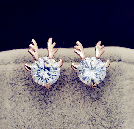 New Fashion accessories jewelry rose gold filled Big crystal stone Antlers stud gift  for women girl Top quality E2563
