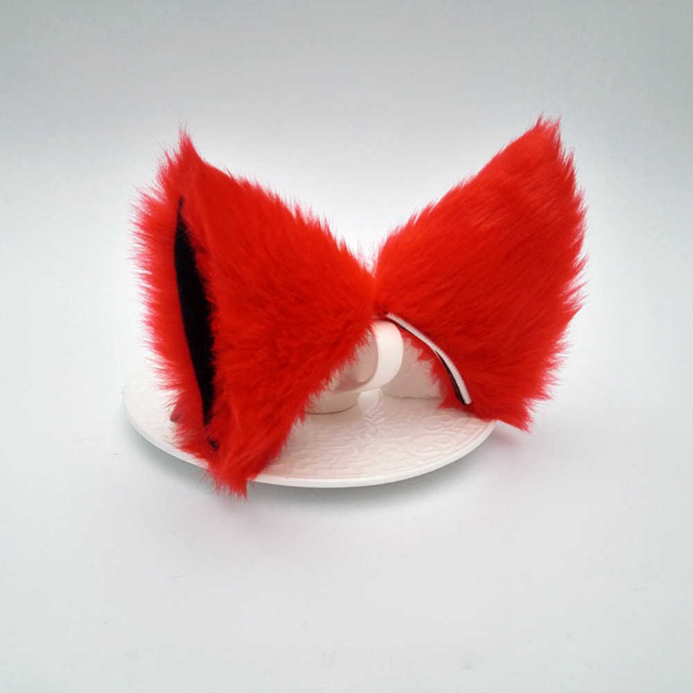 Lolita Anime Cosplay Long Fur Fox Ears Hair Clip Party Neko Cat Ear Dress