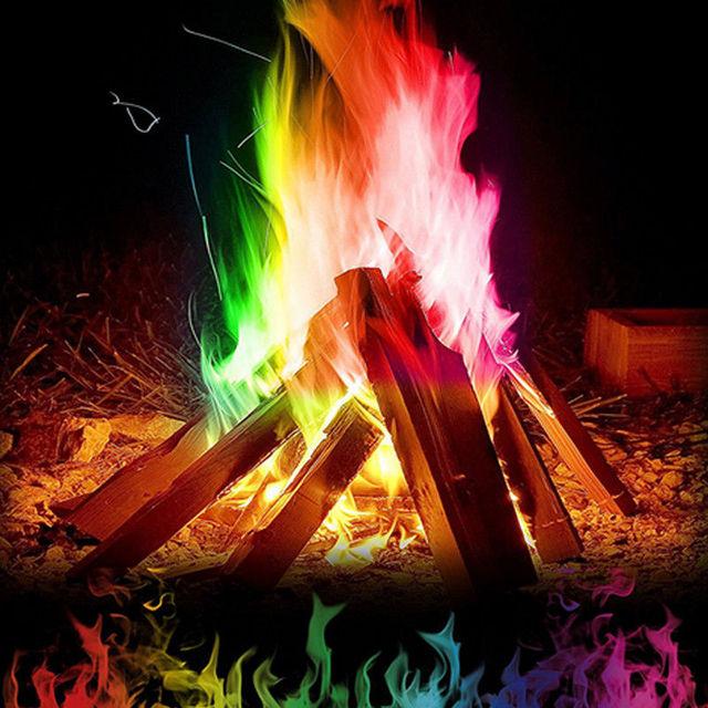 Herramientas de fiesta de Camping entretenimiento al aire libre mágico campamento de fuego colorido llamas polvo adecuado al aire libre Bonfire fuegos artificiales Show 0,25