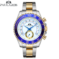 Automatic Self Wind Mechanical Stainless Steel Strap Casual Yellow Gold Silver Blue Bezel Master Business Men Watch