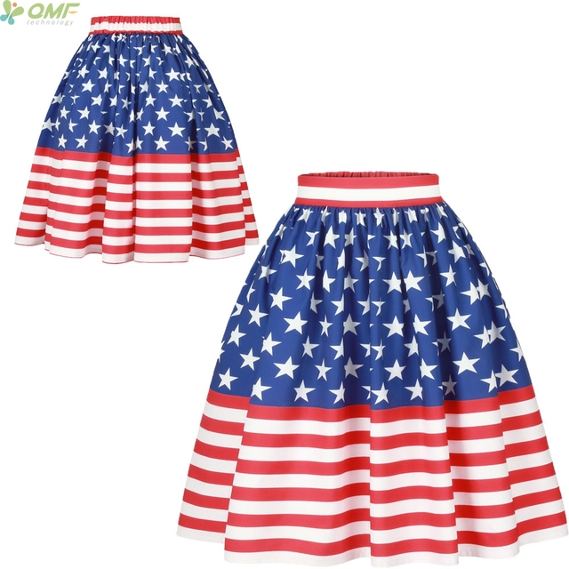 632a882c13ce3e American Flag Print High Waist Women Ball Gown Star Spangled Banner Bust  Skirt Femme knee-length Skirts Cosplay Retro Fashion