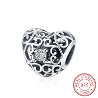 18 Style 100 Real 925 Sterling Silver Crystal Heart Flower Charms Fit DIY Bracelet Necklace Woman