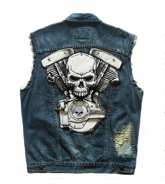 Blue Grim Reaper Bikers Vest Or Jacket Embroidered Cloth Patch