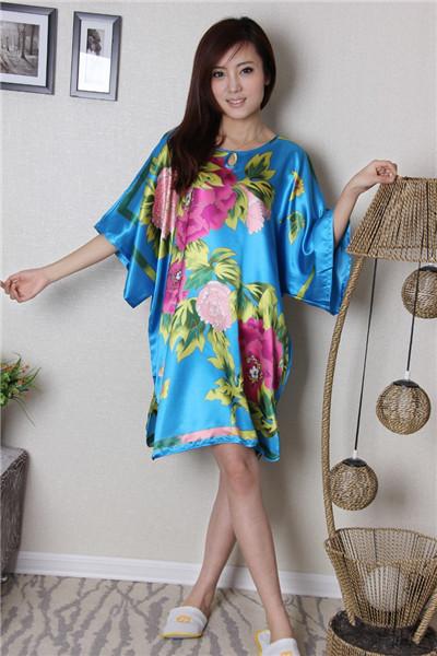 Nova marca azul mulheres falso Robe de seda vestido chinês impresso pijamas novidade Kaftan verão nova camisola flor One Size RB024