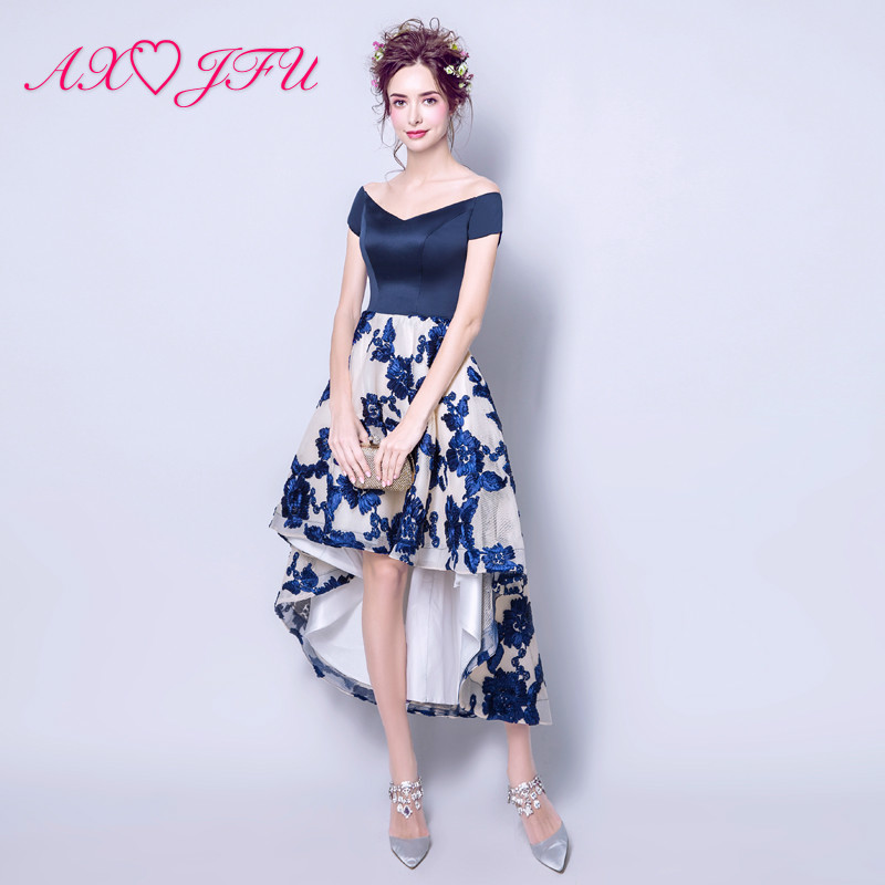 AXJFU Blue Personality Before And After The Evening Dress Dinner Party Annual Performance Flower Boat Neck Evening Dress