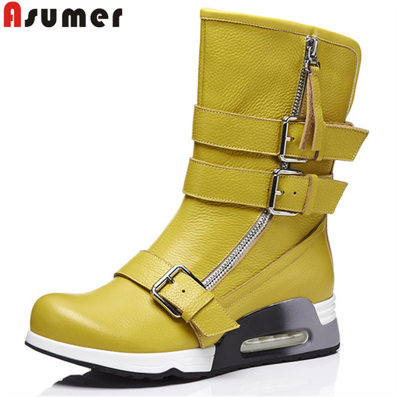 ASUMER 2020 fashion ankle boots for women round toe zip genuine leather boots buckle flat with