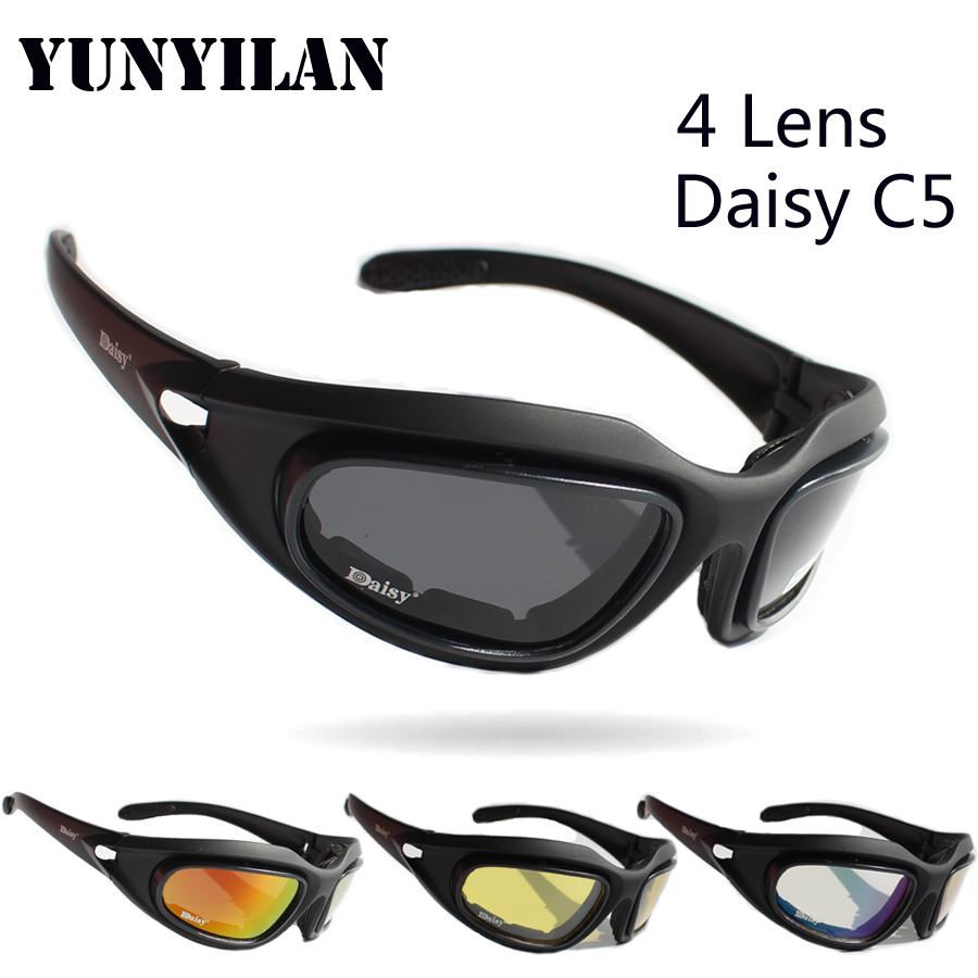 Prix pour Daisy C5 Polarisées Lunettes Armée Cyclisme Lunettes Militaires lunettes de Soleil 4 Lentille Hommes Désert de Jeu de Guerre Tactique Lunettes Sportives