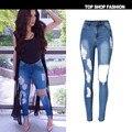 NUEVAS Mujeres del Dril de algodón 2016 de La Alta Cintura Ripped Jeans para Mujeres Jean Flaco Agujero Blue Jeans Mujer Delgada Elástico Femenina