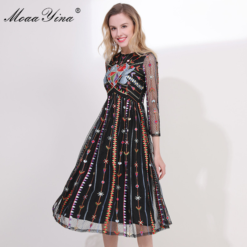 MoaaYina Fashion Designer Runway Dress Spring Summer Women s 3 4 sleeve Mesh Stripe Embroidery Sexy