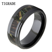 TIGRADE Luxruy 8mm Black Ceramic Ring Men Vintage Green Branches Camo Inlay Wedding Band Engagement Rings Fashion Jewelry